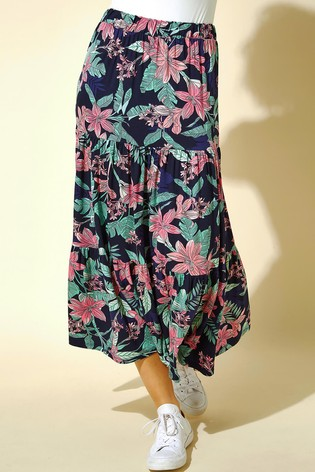 Roman Blue Tropical Floral Tiered Midi Skirt