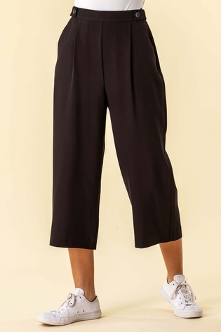 Roman Black Button Detail Culotte Trousers