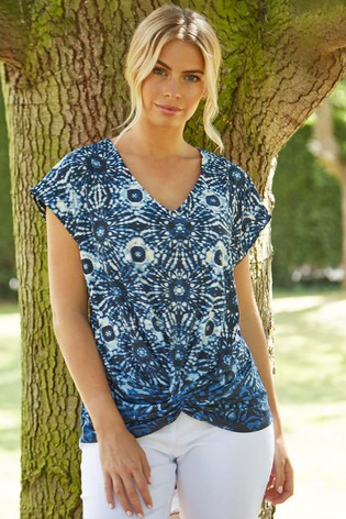 Roman Blue Abstract Print Knot Front Top
