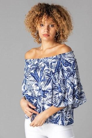 Roman Blue Palm Leaf Print Bardot Top