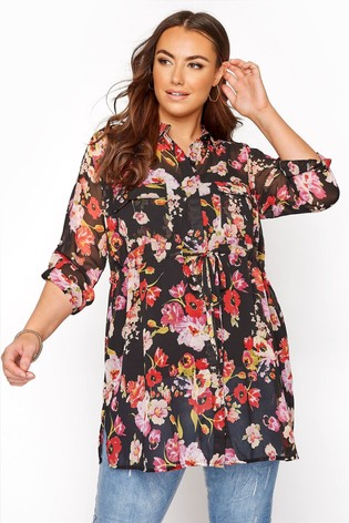 Yours Black Tie Waist Long Sleeve Shirt Floral