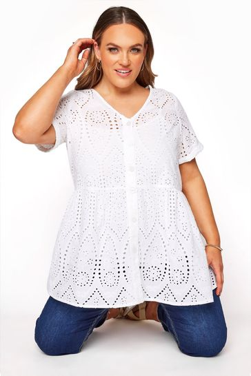 Yours White Embroidered Lace Peplum Top