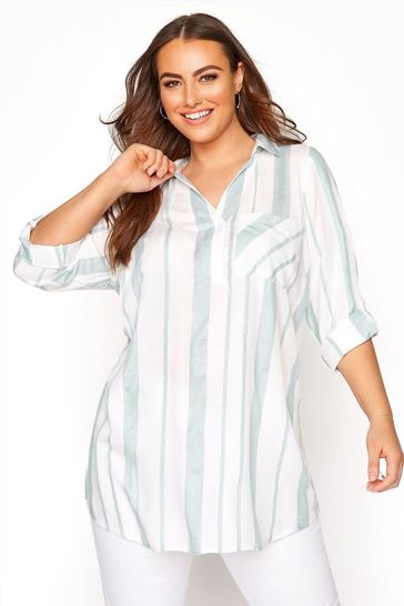Yours Green Overhead Stripe Shirt