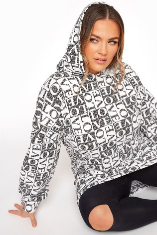 Yours Limited Black Love Longline Hoodie