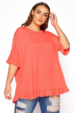 Yours Limited Pink Jersey Boxy Frill Tee