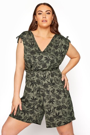 Yours Limited Green Palm Leaf Print Playsuit