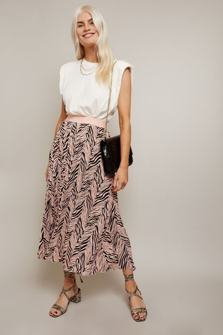 Little Mistress Multi Ava Black Zebra Print, Pleated Midi Skirt With Ruching