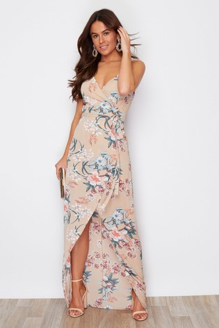 Girl In Mind Neutral Mia Wrap Maxi Dress Beige Floral Print
