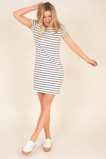 Brakeburn Cream Organic Cotton Stripe Dress