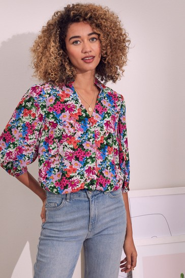 Love & Roses Floral Frill Neck Blouse