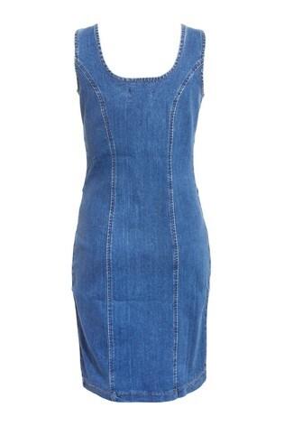 Quiz Blue Denim Denim Zip Front Dress