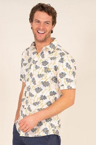 Brakeburn Cream Sunflower Print Shirt
