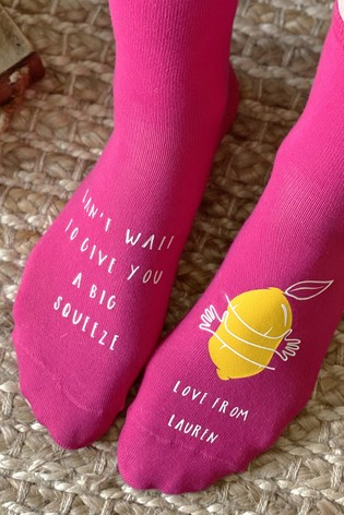 Personalised Big Squeeze Lemon Socks by Solesmith