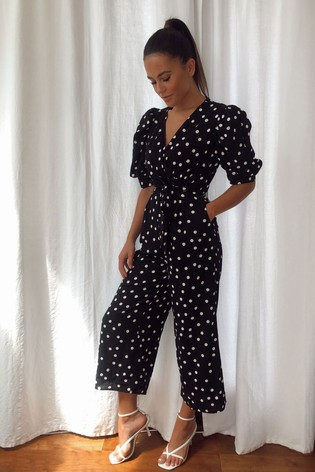 Girl In Mind Black Kennedy Wrap Neck Puff Sleeves Culotte Jumpsuit Black Spot