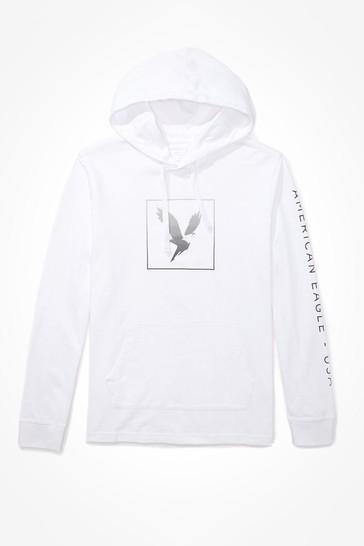 American Eagle White Graphic Hoodie Tee