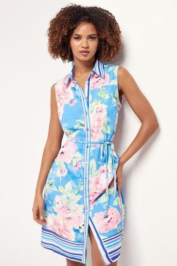 Lipsy Blue Floral Printed Sleeveless Shirt Dress