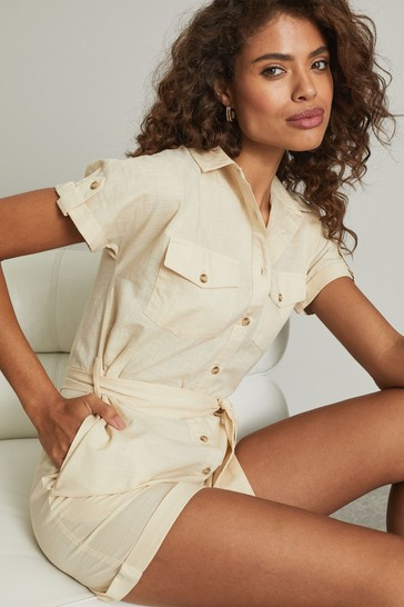 Lipsy Natural Linen Style Utility Playsuit