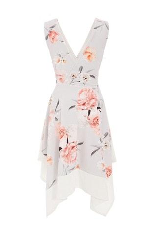 Quiz Grey Floral Hanky Hem Dress