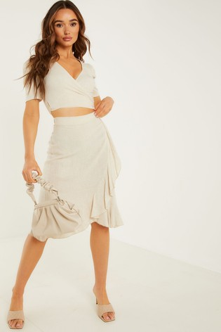 Quiz Brown Frill Wrap Midi Skirt