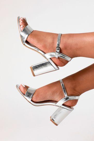 Linzi Silver Glitter Open Back Barely There Block Heeled Sandal