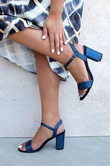 Linzi Navy Glitter Open Back Barely There Block Heeled Sandal