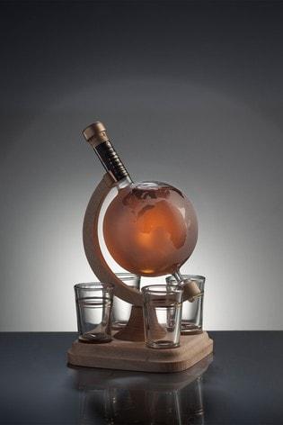 DrinksTime Stylish Whisky Spirit of Scotland Globe Blended Malt Scotch Whisky Decanter & Four Glasses