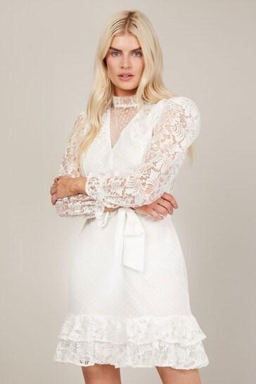 Trendyol White Lace High Neck Tye Mini Dress