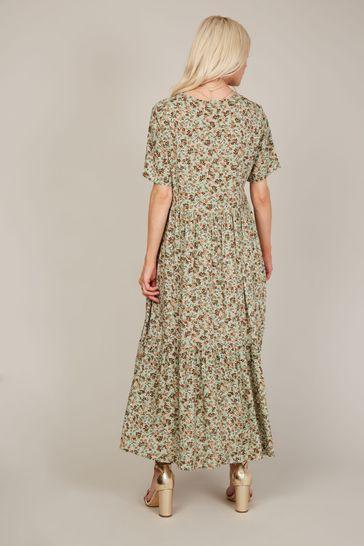 Trendyol Beige Floral Midi Smock Dress