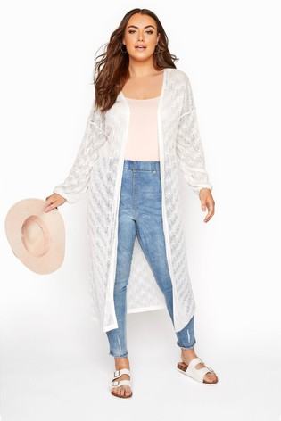 Yours White Balloon Sleeve Textured Cardigan