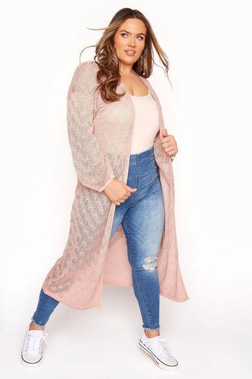 Yours Pink Balloon Sleeve Textured Cardigan