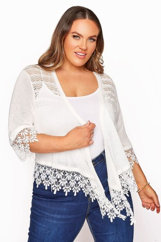 Yours White Lace Detail Waterfall Shrug