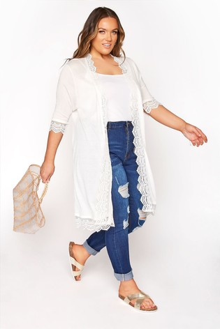 Yours White Lace Trim Cardigan