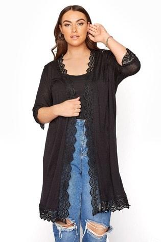 Yours Black Lace Trim Cardigan