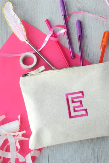 Persoanlised Embroidered Letter Pencil Case by Solesmith