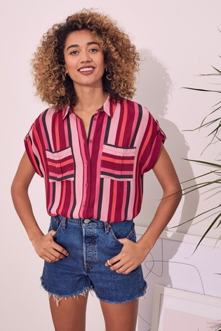 Love & Roses Striped Patch Pocket Roll Sleeve Shirt