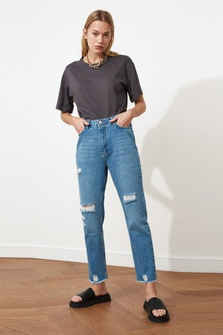 Trendyol Blue Blue Ripped Mom Jeans With Distressed Hem