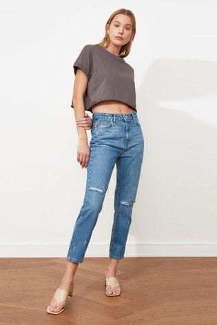 Trendyol Blue Blue Distressed Stright Leg Cropped Jean