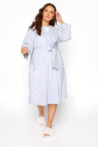 Yours Blue Flannel Fleece Marl Heart Robe
