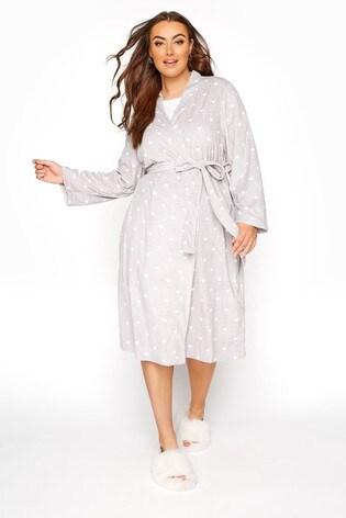 Yours Grey Flannel Fleece Marl Heart Robe