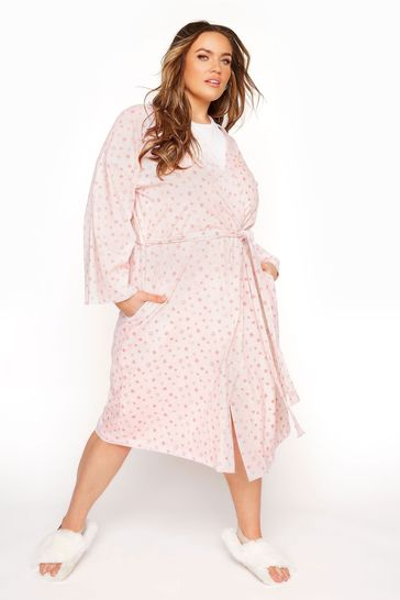 Yours Pink Cotton Jersey Sketch Heart Robe