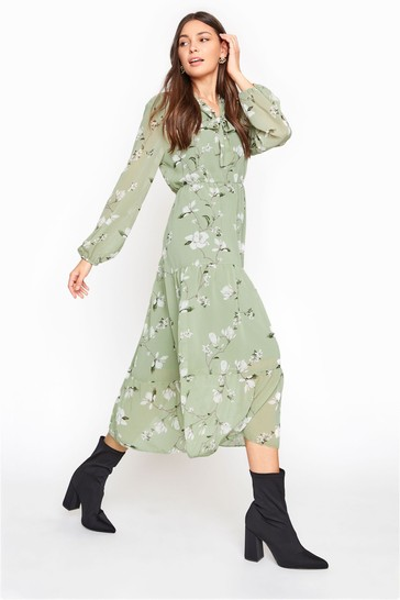 Long Tall Sally Green Floral Tiered Smock Midi Dress