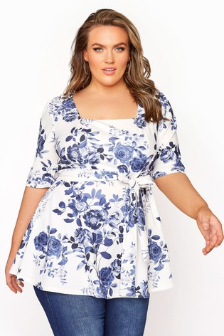 Yours White Square Neck Floral Peplum Top