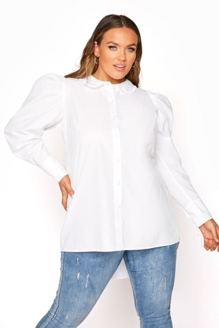 Yours White Cotton Ruffle Collar Shirt