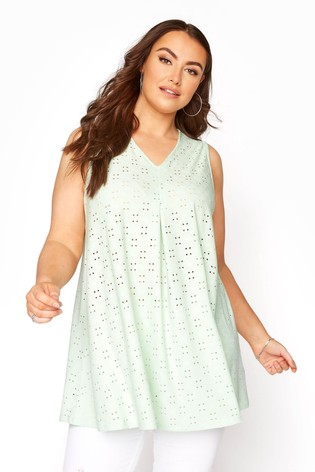 Yours Green Broidery Swing Vest