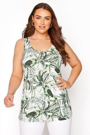 Yours Green Double Peplum Vest Ditsy