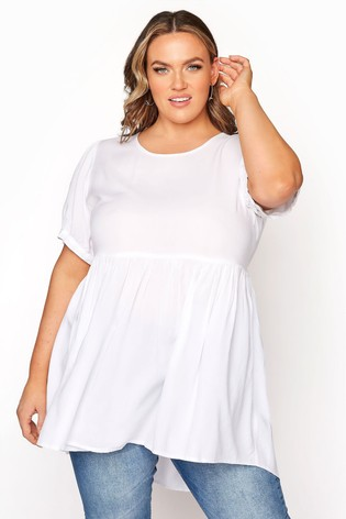 Yours White Dip Back Puff Sleeve Peplum Top
