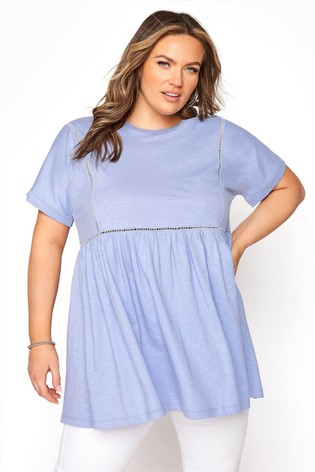 Yours Blue Ladder Lace Peplum Tee