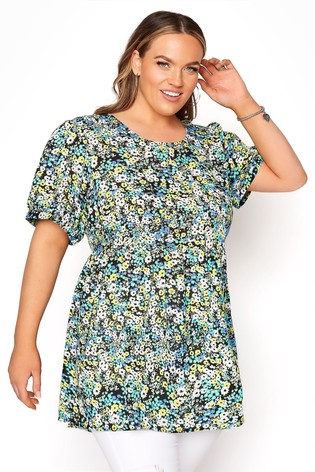 Yours Black Dip Backpuff Sleeve Floral Peplum Top