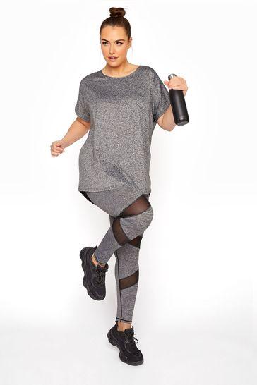 Yours Grey Active Grey Marl Mesh Legging
