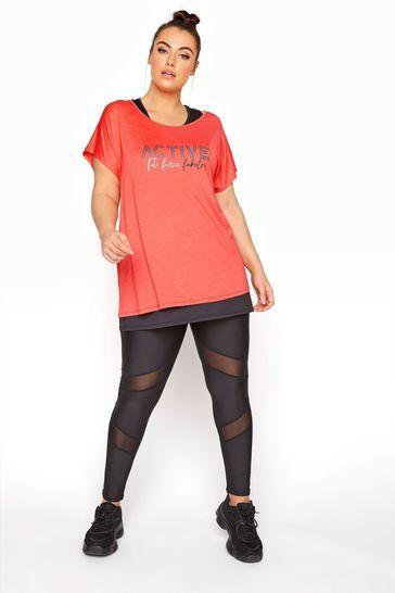 Yours Black Active Mesh Legging